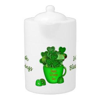 Irish Shamrock Cookie Bouquet-Porcelain Teapot