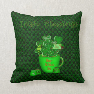 Irish Shamrock Cookie Bouquet-Sq Throw Pillow