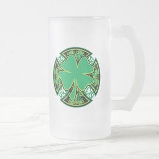 Irish Shamrock Cross 16 Oz Frosted Glass Beer Mug