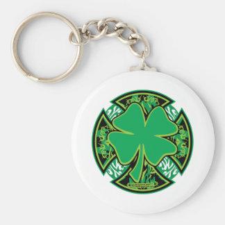 Irish Shamrock Cross Basic Round Button Keychain