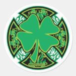 Irish Shamrock Cross Classic Round Sticker
