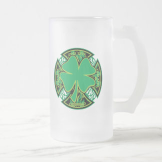 Irish Shamrock Cross Frosted Glass Beer Mug