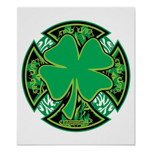 Irish Shamrock Cross Posters