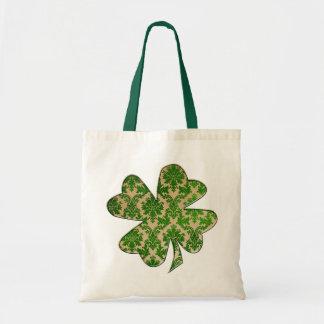 Irish Shamrock Damask Green Tote Bag