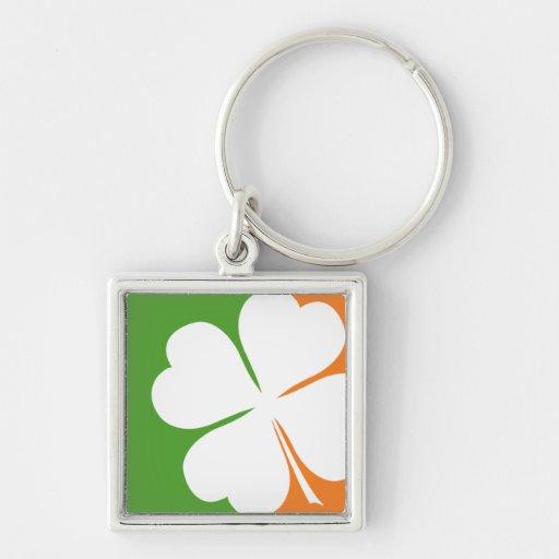 Irish Shamrock Flag Silver-Colored Square Keychain