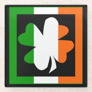 Irish Shamrock Flag Stripe Glass Coaster