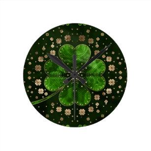 3444 Patties Clover Clock Proud Irish Clock 10.5 Irish St Living Room Clock Home D\u00e9cor Clock Large 10.5 Wall Clock