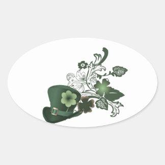 Irish Shamrock Hat Oval Sticker