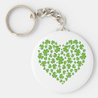 Irish Shamrock Heart Basic Round Button Keychain