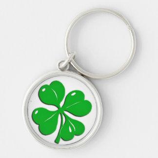 Irish Shamrock Keeychain Silver-Colored Round Keychain
