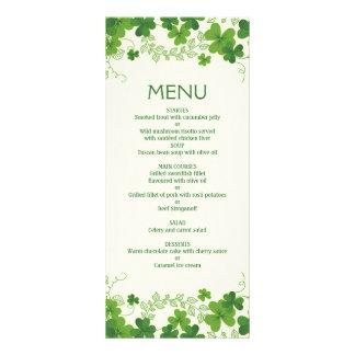 Irish shamrock leaves (clover) Wedding Menu