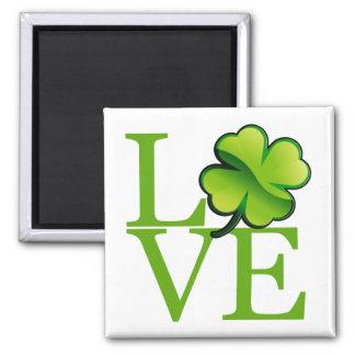 Irish Shamrock Love 2 Inch Square Magnet
