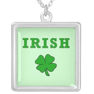 Irish Shamrock Square Pendant Necklace