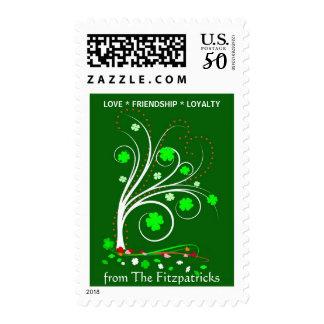 Irish Shamrock Personalized Family Postage Stamp