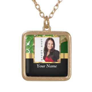 Irish shamrock personalized instagram square pendant necklace