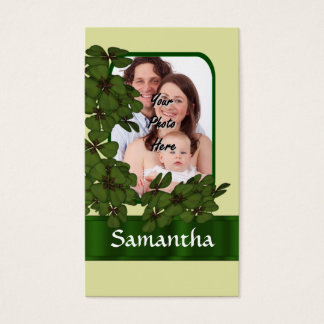 Irish shamrock photo template business card