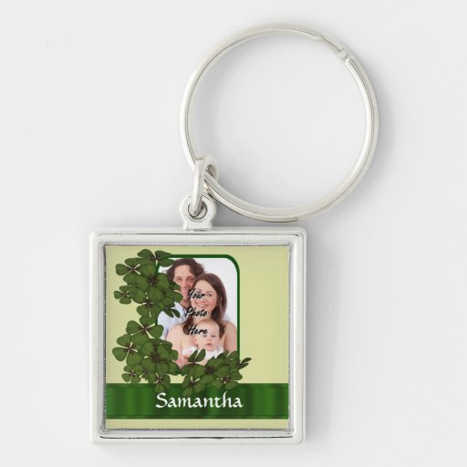 Irish shamrock photo template key chain