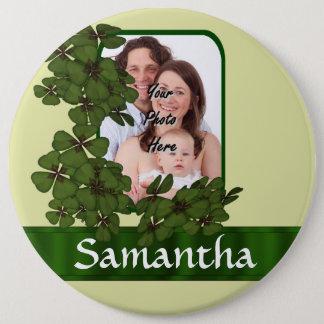 Irish shamrock photo template pinback button