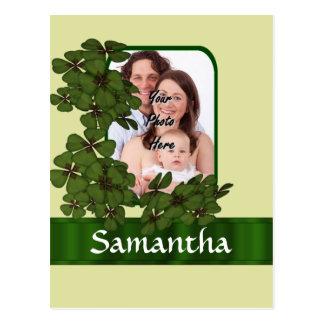 Irish shamrock photo template postcard