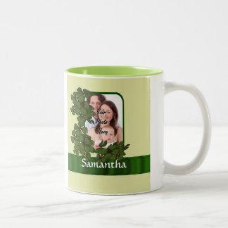 Irish shamrock photo template Two-Tone coffee mug