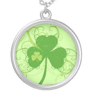 Irish Shamrock Round Pendant Necklace