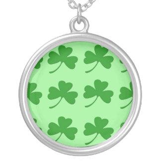 Irish Shamrock Round Silver Necklace