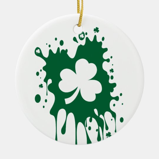 Irish Shamrock Splat ! Ceramic Ornament