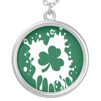 Irish Shamrock Splat ! Round Pendant Necklace
