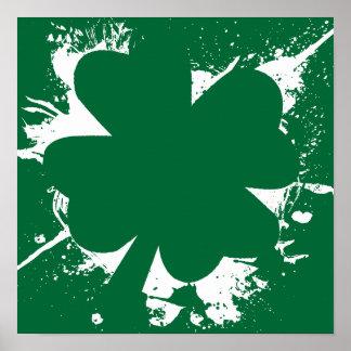 Irish Shamrock Splatter Poster