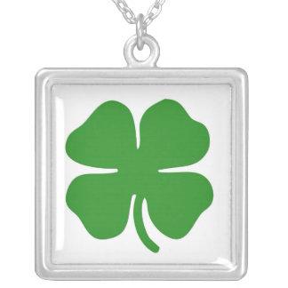 Irish Shamrock Square Silver Necklace