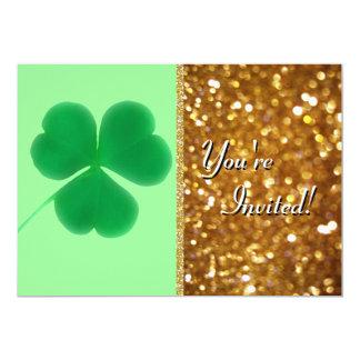 Irish Shamrock St. Patrick's Day Gold Glitter Card