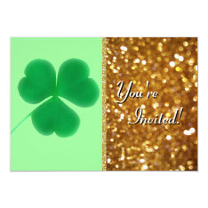 Irish Shamrock St. Patrick's Day Gold Glitter Card at Zazzle
