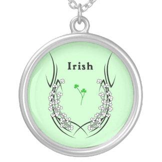 Irish Shamrock Tattoo Round Pendant Necklace