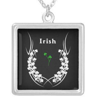 Irish Shamrock Tattoo Square Pendant Necklace