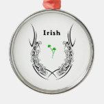Irish Shamrock Tattoo Round Metal Christmas Ornament