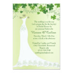 Irish Shamrock, Wedding Gown Bridal Shower Card at Zazzle