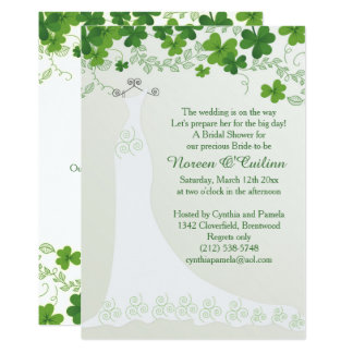 Irish shamrock, wedding gown Bridal Shower Card