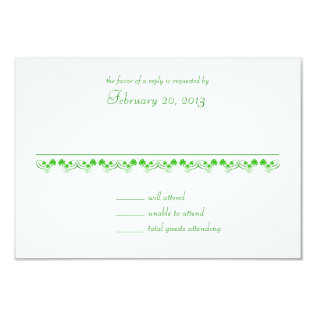 Irish Shamrock Wedding response card at Zazzle