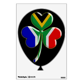 Irish Shamrock with South African Flag Balloon Wall Sticker