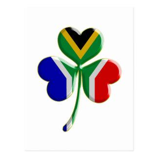 Irish Shamrock with South African Flag Postcard