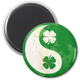 Irish Shamrock Yin Yang 2 Inch Round Magnet
