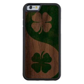 Irish Shamrock Yin Yang Carved® Walnut iPhone 6 Bumper Case