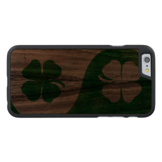 Irish Shamrock Yin Yang Carved Walnut iPhone 6 Slim Case