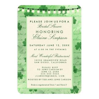 Irish shamrocks and string lights personalized invite