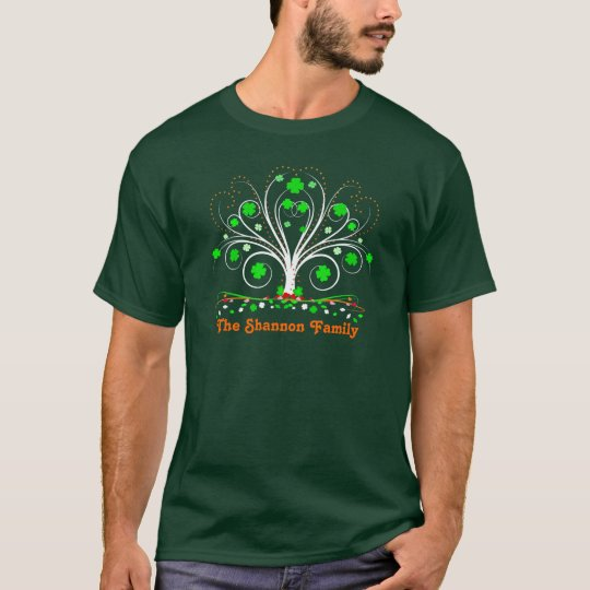 Irish Shamrocks Family Tree Dark T- Shirts