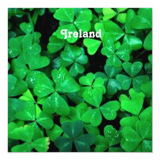 Irish Shamrocks 5.25x5.25 Square Paper Invitation Card