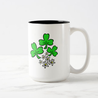Irish Shamrocks Two-Tone Coffee Mug