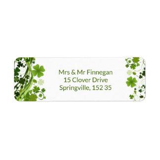 Irish Shanrock (clover) Label