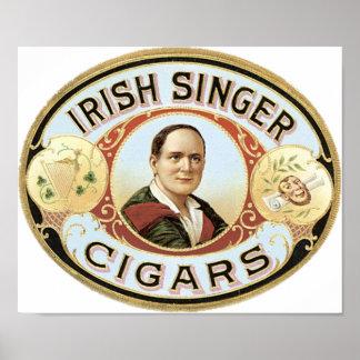 Irish Singer Cigar Label Poster