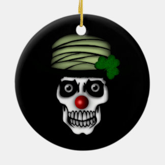 Irish Skeleton Clown Ceramic Ornament